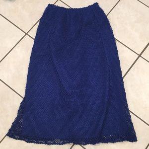 Gorgeous blue crocheted vintage midi skirt